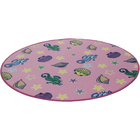 Kinderteppich, Meereswelt Muschel, Living Line, rund, Höhe 7 mm, maschinell gewebt 49 (Ø 300 cm), mm rosa Kinder Bunte Kinderteppiche Teppiche