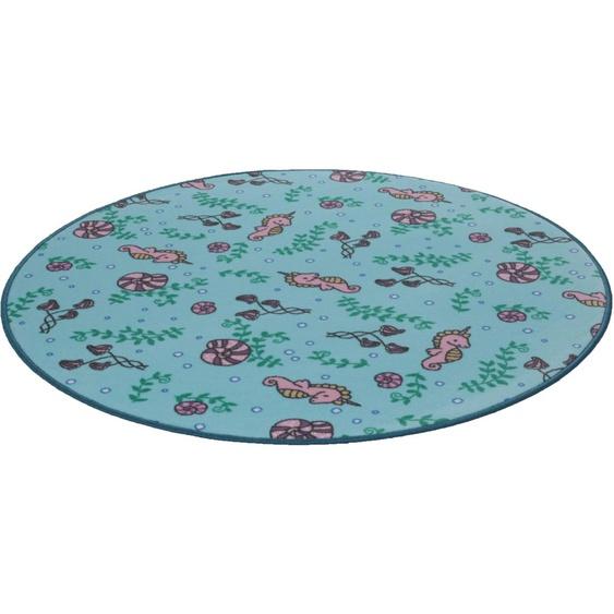 Kinderteppich, Meereswelt Seepferdchen, Living Line, rund, Höhe 7 mm, maschinell gewebt 49 (Ø 300 cm), mm blau Kinder Bunte Kinderteppiche Teppiche