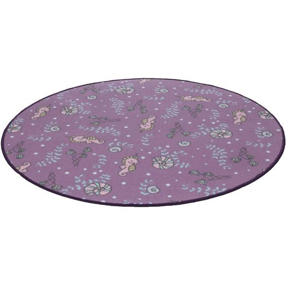 Kinderteppich, Meereswelt Seepferdchen, Living Line, rund, Höhe 7 mm, maschinell gewebt 49 (Ø 300 cm), mm lila Kinder Bunte Kinderteppiche Teppiche