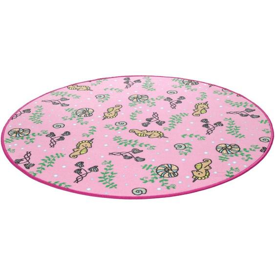Kinderteppich, Meereswelt Seepferdchen, Living Line, rund, Höhe 7 mm, maschinell gewebt 49 (Ø 300 cm), mm rosa Kinder Bunte Kinderteppiche Teppiche