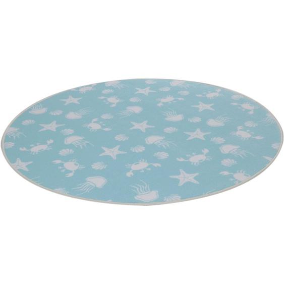 Kinderteppich, Meereswelt weiß, Living Line, rund, Höhe 7 mm, maschinell gewebt 49 (Ø 300 cm), mm blau Kinder Bunte Kinderteppiche Teppiche