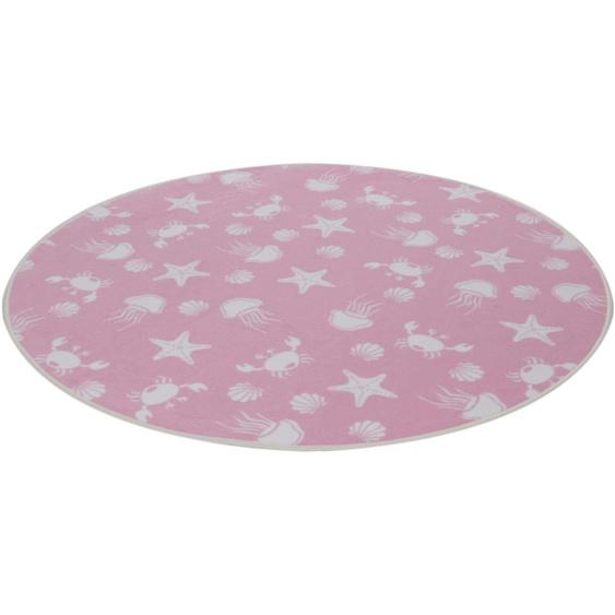 Kinderteppich, Meereswelt weiß, Living Line, rund, Höhe 7 mm, maschinell gewebt 49 (Ø 300 cm), mm rosa Kinder Bunte Kinderteppiche Teppiche