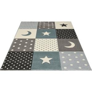 Kinderteppich »Pastel Kids 20340«, merinos, rechteckig, Höhe 13 mm, Mond und Sterne, Konturenschnitt
