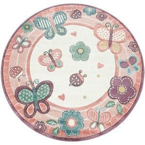 Kinderteppich »Volta 317«, Paco Home, rund, Höhe 18 mm, niedliches Kinder Design in Pastell Farben, Kinderzimmer