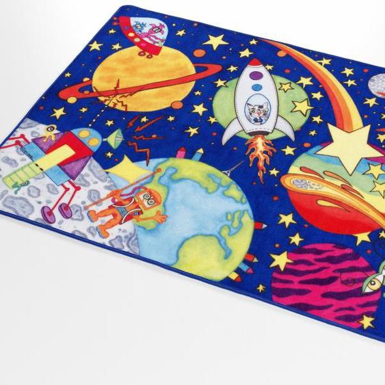 Böing Carpet Kinderteppich Weltall WA-1, rechteckig, 2 mm Höhe, Druckteppich 3, 100x160 cm, blau Kinder Kinderteppiche mit Motiv Teppiche
