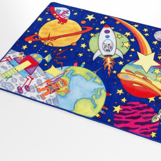 Böing Carpet Kinderteppich Weltall WA-1, rechteckig, 2 mm Höhe, Druckteppich 4, 140x200 cm, blau Kinder Kinderteppiche mit Motiv Teppiche