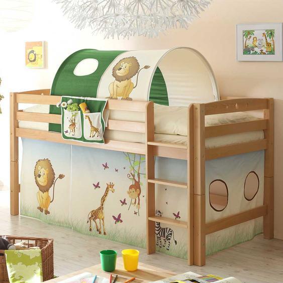 Kinderzimmer Bett im Zootier Design halbhoch