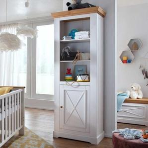 Kinderzimmer Regal in Weiß und Eichefarben Kiefer Massivholz