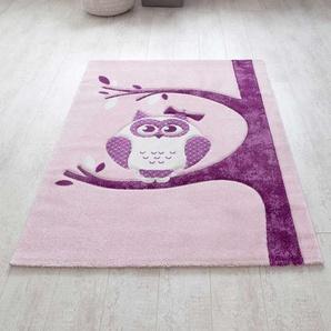 Kinderzimmer Teppich mit Eule Motiv Rosa Lila