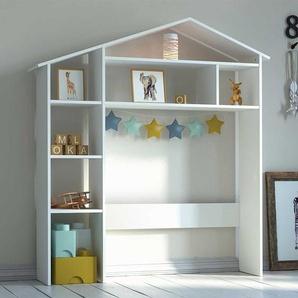 Kinderzimmerregal in Weiß lackiert Hausform