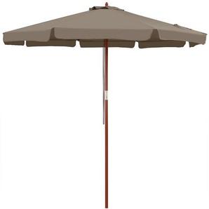 Kingsleeve Sonnenschirm, 330 cm Robuster Mast aus Holz UV Schutz 50+ Wasserabweisend Leichtgängiges Seilzugsystem Windöffnung für stabilen Stand Marktschirm Gartenschirm Balkonschirm