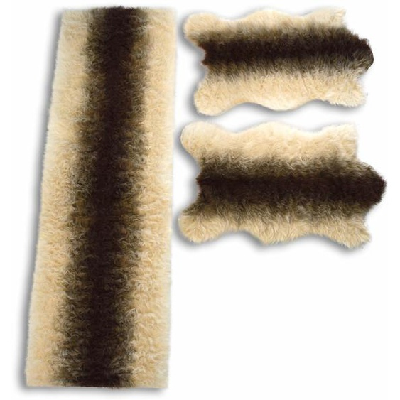 KiNZLER Bettumrandung Fell Streifen, Kunstfell B/L (Brücke): 70 cm x 110 (2 St.) (Läufer): 200 (1 St.), rechteckig beige Bettumrandungen Läufer Teppiche