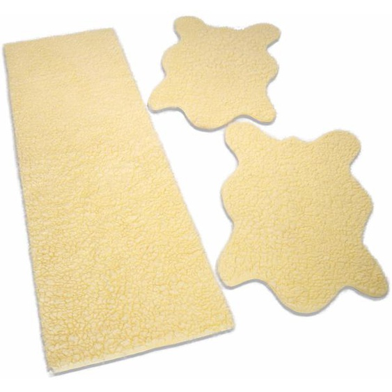 KiNZLER Bettumrandung Fell uni, Fellform, Kunstfell B/L (Brücke): 70 cm x 110 (2 St.) (Läufer): 330 (1 St.), rechteckig beige Bettumrandungen Läufer Teppiche