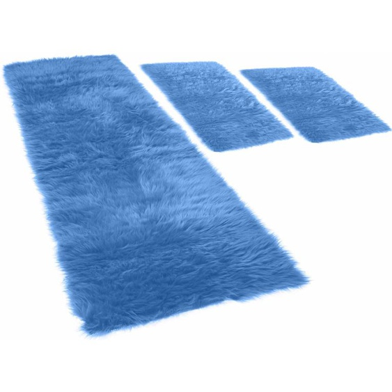 KiNZLER Hochflor-Bettumrandung Pireo, synthetischer Flokati B/L (Brücke): 70 cm x 110 (2 St.) (Läufer): 330 (1 St.), U-förmig blau Bettumrandungen Läufer Teppiche