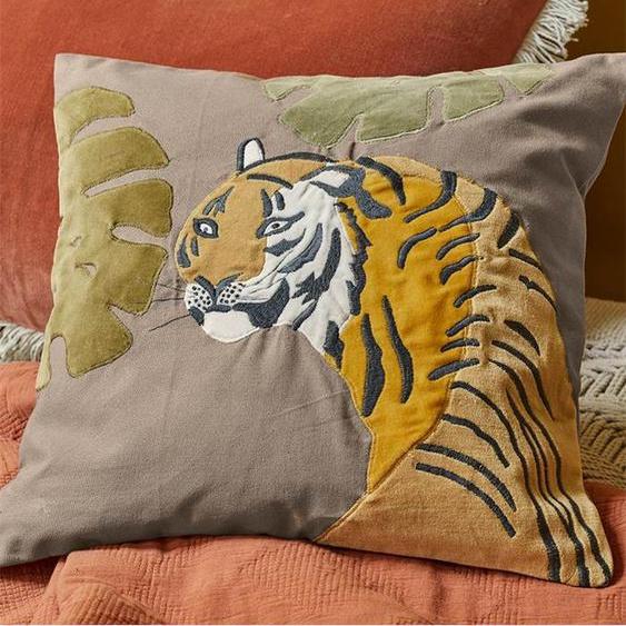 Kissenhülle Bengalischer Tiger - bunt - 100 % Baumwolle - Zierkissen & Polsterrollen  Zierkissen - Kissenbezüge