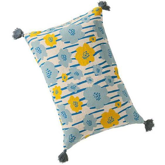 Kissenhülle blaue-gelbe Blumen - bunt - 100 % Leinen - Zierkissen & Polsterrollen  Zierkissen - Kissenbezüge