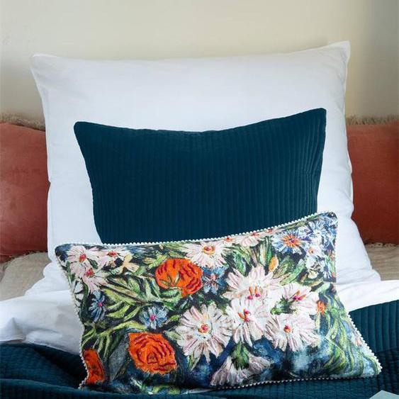 Kissenhülle Blüten auf blauem Grund - bunt - Stoff: 100 % Baumwolle - Zierkissen & Polsterrollen  Zierkissen - Kissenbezüge