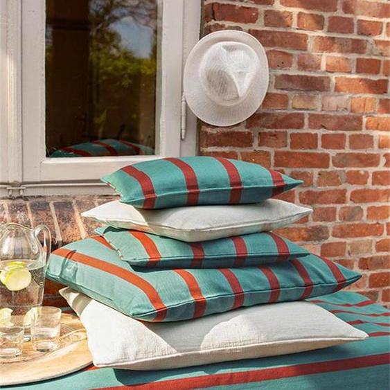 Kissenhülle Streifen türkis-rotbraun - bunt - 100 % Baumwolle - Zierkissen & Polsterrollen  Zierkissen - Kissenbezüge
