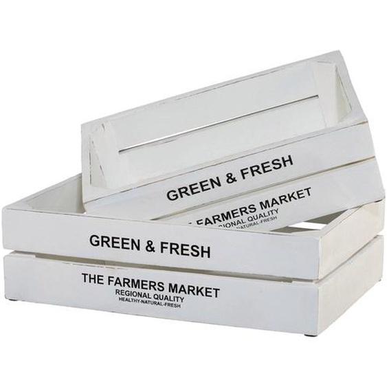 Kiste Green&Fresh, 2er Set B/H/T: 32 cm-37 cm x 10 cm-11 20 cm-25 weiß Kisten Truhen, Körbe Schlafzimmer