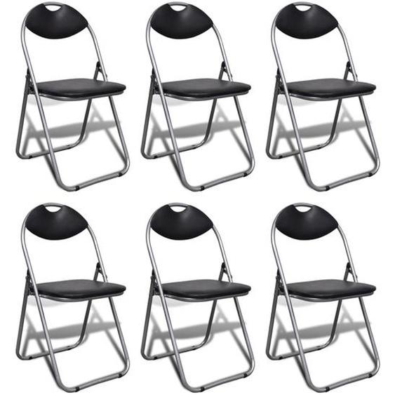 Klappbare Esszimmerstühle 6 Stk. Schwarz Kunstleder und Stahl
