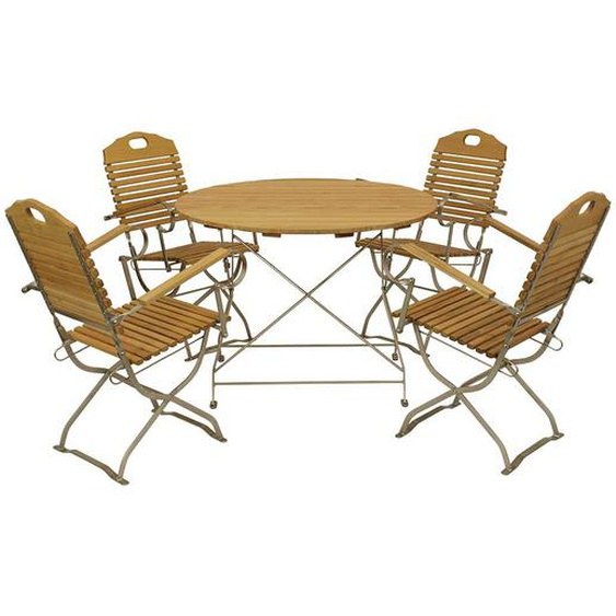 Klappbare Garten Sitzgarnitur mit rundem Tisch Robinie Massivholz (5-teilig)