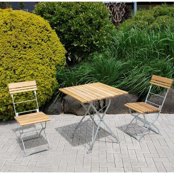Klappbare Garten Sitzgruppe aus Robinie Massivholz Stahl in Zinkfarben (3-teilig)
