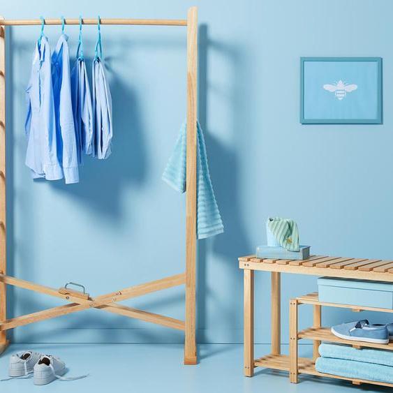 Klappbarer Massivholz-Kleiderständer - Naturfarben -