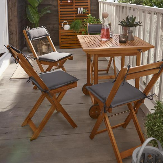 Klappbares Balkon-Set - rosa - Massivholz -