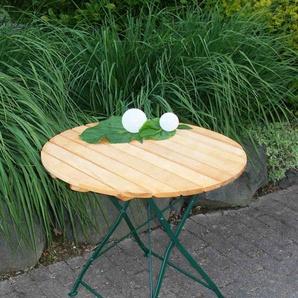 Klapptisch mit dunkelgrünem Flachstahlgestell und Belattung aus Robinienholz, Maße: B/H/T ca. 77/72/77 cm