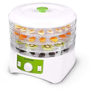 Klarstein Appleberry • Dörrgerät • Dörrautomat • Obst- Fleisch- und Früchte-Trockner • Dehydrator • 400 W • 4 Etagen • stapelbar • BPA-frei • weiß-grün