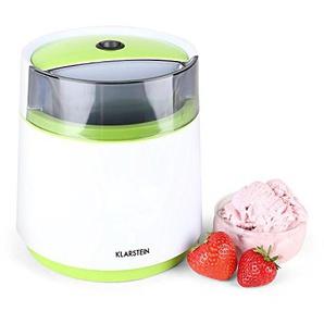 Klarstein Bacio Verde • Eismaschine • Speiseeismaschine • Eisbereiter • Frozen Yogurt • 7 Watt • 0,8 Liter Fassungsvermögen • doppelwandiger Thermobehälter • 30 min Rührdauer • niedriges Betriebsgeräusch • einfache Reinigung • inkl. Rezeptvorschläge •
