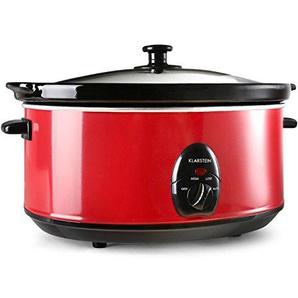 Klarstein Bristol 65 • Slow Cooker • Schongarer • Schmor-Kochtopf • 6,5 Liter • herausnehmbarer Innentopf aus Keramik • Edelstahl-Außentopf • Glasdeckel • eigene Stromversorgung • 300 Watt • 2 Temperaturstufen • ausgewogene Wärmeverteilung • rot