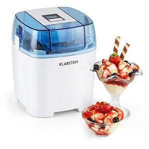 Klarstein Creamberry • Eismaschine • Speiseeismaschine • 4-in-1-Eisbereiter • Zubereitung in 20 Minuten • 1,5 Liter Fassungsvermögen • Thermobehälter • stromsparend • Timer • 10 Watt • weiß