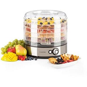 Klarstein Fruitower M • Dörrgerät • Dörrautomat • Obst-, Fleisch- und Früchte-Trockner • 5 Ablagegitter • An-/Aus-Schalter • einstellbare Temperatur • Edelstahl-Gehäuse • einfache Reinigung • silber
