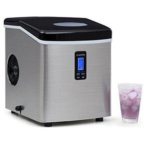 Klarstein Mr. Silver-Frost • Eismaschine • Eiswürfelmaschine • Eiswürfelbereiter • 15 kg/Tag • 150 Watt • 3 Würfelgrößen • Timer • Edelstahl • schwarz