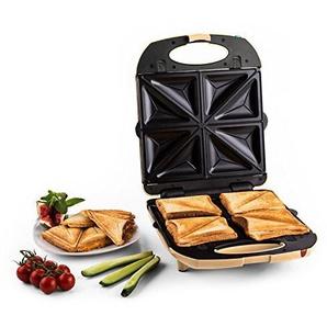 Klarstein Trinity 3 in 1 • Sandwichtoaster • Sandwich Maker • 3 austauschbare Heizplattenpaare • für bis zu 4 Sandwiches/Waffeln • 1300 W Leistung • bis zu 180° aufklappbar • Fettablauf • creme