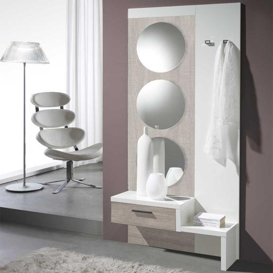 Kleiderpaneel in Weiß Hochglanz Eiche Sonoma Spiegel rund