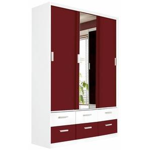 Kleider-Schrank, mit Spiegel, rot, Breite 144 cm