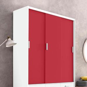 Kleiderschrank, rot, Breite 144 cm