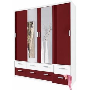 Kleider-Schrank, mit Spiegel, rot, Breite 190 cm