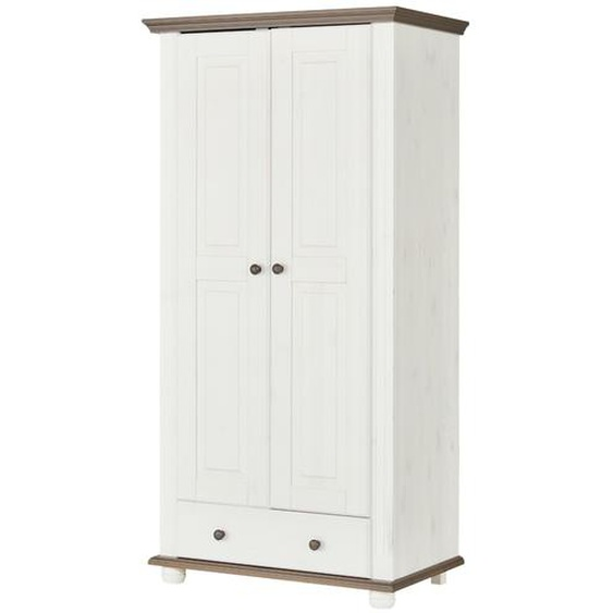 Kleiderschrank 2 türig - weiß - 95,6 cm - 185,7 cm - 55,8 cm | Möbel Kraft