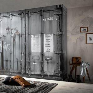 Kleiderschrank, 4-trg., in Container-Optik (Dekorfolie, Digitaldruck), Maße: B/H/T ca. 237/224/59 cm