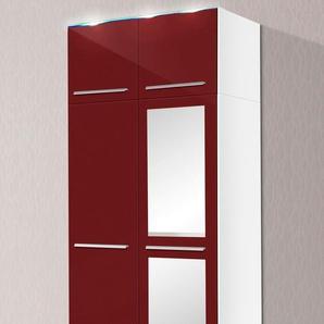 Kleiderschrank, T/H 55/218 cm, mit LED-Beleuchtung, rot, Breite 94 cm