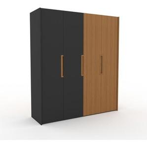 Kleiderschrank Anthrazit/Eiche - Individueller Designer-Kleiderschrank - 204 x 233 x 62 cm, Selbst Designen, Schuhauszug/hohe Schublade/Schublade Glasfront/Kleiderlift