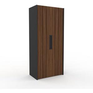 Kleiderschrank Anthrazit, Holz - Individueller Designer-Kleiderschrank - 104 x 233 x 62 cm, Selbst Designen, Schublade Glasfront/Kleiderlift/Hosenhalter