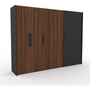 Kleiderschrank Anthrazit, Holz - Individueller Designer-Kleiderschrank - 304 x 233 x 65 cm, Selbst Designen, hohe Schublade/Schublade Glasfront/Kleiderlift