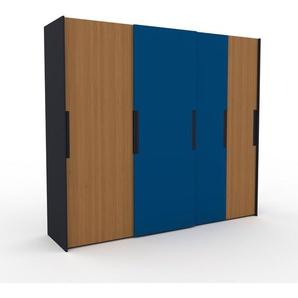 Kleiderschrank Anthrazit - Individueller Designer-Kleiderschrank - 264 x 233 x 65 cm, Selbst Designen, Kleiderstange/Schublade Glasfront