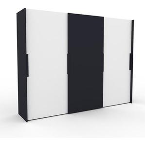 Kleiderschrank Anthrazit - Individueller Designer-Kleiderschrank - 304 x 233 x 65 cm, Selbst Designen, Kleiderstange/hohe Schublade/Schublade Glasfront/Kleiderlift