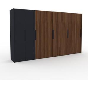 Kleiderschrank Anthrazit/Nussbaum, Holz - Individueller Designer-Kleiderschrank - 404 x 233 x 65 cm, Selbst Designen, Schuhauszug/Kleiderstange/hohe Schublade/Schublade Glasfront/Kleiderlift