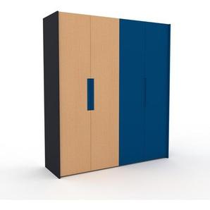 Kleiderschrank Anthrazit/Blau - Individueller Designer-Kleiderschrank - 204 x 233 x 62 cm, Selbst Designen, Kleiderstange